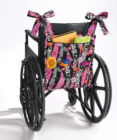 A wheelchair organiser is a great way to keep their favourite things handy.