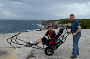 BJ from Have Wheelchair will Travel exploring Kamay Botany Bay National Park on a TrailRider!